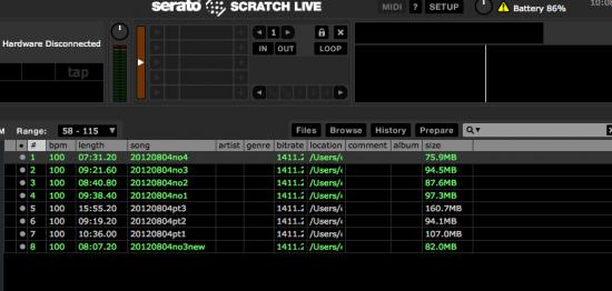 メモ:scratch liveでプレイし終わって緑色になった曲名を白色に戻す方法